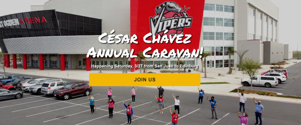 "areal view of arena parking lot with LUPE members standing spaced apart with masks and fists in the air. Text on screen says ""Cesar Chavez Annual Caravan, happening Saturday 3/27 from San Juan to Edinburg. Join us."""